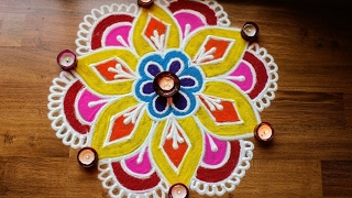 Download Freehand flower rangoli designs with colours Video