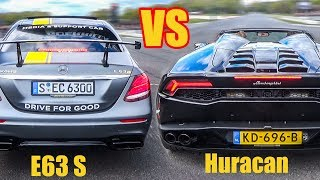 Download 2017 Mercedes E63 S AMG vs Lamborghini Huracan Spyder - DRAG RACE! Video