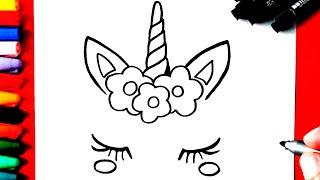 Download COMO Desenhar UNICÓRNIO super FOFA com coroa de flores Video