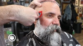 Download Massive Beard Trim with Great Haircut for Thin Hair | The Dapper Den Barbershop Video
