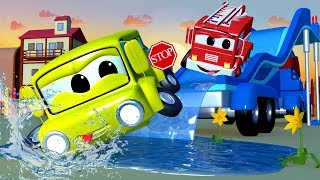 Download The Water Slide Truck - Carl the Super Truck in Car City | Children Cars 3 D videos for kids Video