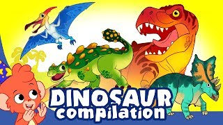Download Learn Dinosaurs for Kids | Cute and Scary Dinosaur Cartoons | t rex Triceratops | Club Baboo Video