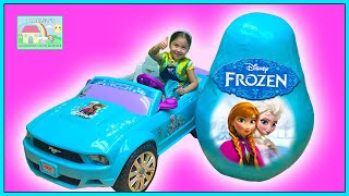Download World's Biggest FROZEN Surprise Egg Toys Opening Spider-Man vs Anna PowerWheels Toy Roller Skates Video
