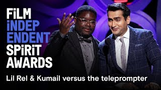Download Lil Rel Howery & Kumail Nanjiani vs. teleprompter | 2018 Film Independent Spirit Awards Video