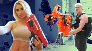 Download GIANT NERF GUN WAR (BOYS VS. GIRLS) Video