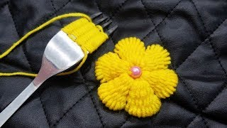 Download Hand embroidery Amazing Trick,Wow Easy Yellow Flower Embroidery Trick With Fork,Sewing Hack Video