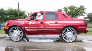 Download WhipAddict: Kandy Cadillac Escalade EXT, BAGGED Engraved Corleone Forged Fiato 34s!! Video