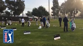 Download PGA TOUR LIVE Featured Groups warm-up on the range at Riviera Video