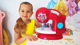 Download Diana Pretend Play with Toy Sewing machine Video