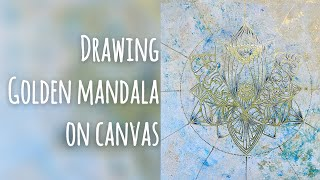 Download Drawing Golden Mandala on canvas Video