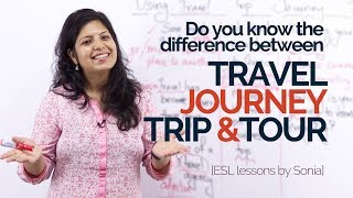 Download English Speaking Lesson – What is different about Travel, Trip, Journey & Tour. –English Vocabulary. Video