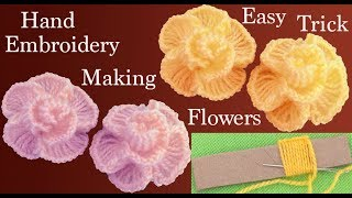 Download Hand Embroidery Making flowers easy embroidery Trick flores rosas bordadas con truco Video