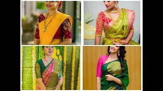 Download Contrast Combination Saree & Blouse Designes Video