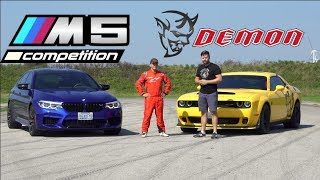 Download 2019 BMW M5 Competition vs. Dodge Demon TRACK TEST // Drag Race, Drifting, Lap Times Video