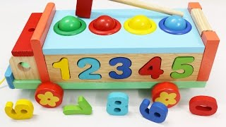 Download Learn Colors Numbers with Wooden Truck Hammer Balls Toys for Children Toddlers Video