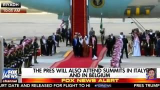 Download Trump lands in Saudi Arabia, Melania shakes king's hand, no head covering 2017-05-20 Video