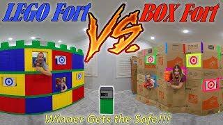 Download Giant Lego Castle vs Giant Box Fort Nerf Battle! Winner Unlocks the Safe!!! Video