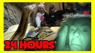 Download 24 HOURS IN A DEADLY SNAKE CAGE ( all night / 24 hr challenge ) Video