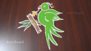 Download Parrot Rangoli with 6x2 Dots | Parrot Muggulu with Dots | Easy Parrot Kolam Designs Video