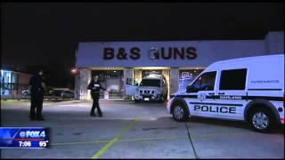 Download Truck hits gun store Video