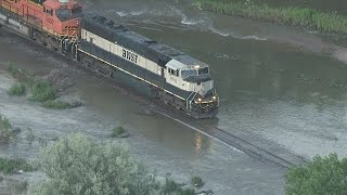 Download Watch train negotiate flooded track in NE Colorado Video
