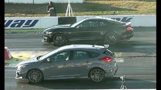 Download NEW FORD FOCUS RS DRAG RACING 1/4 MILE vs 5.0 MUSTANG Video