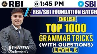 Download Top 1000 | Grammar Tricks | Level 6 | English | By Nitin Mahendras | SBI & RBI Foundation Class Video