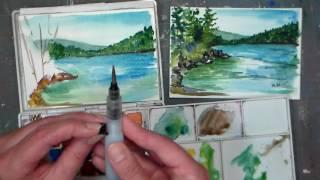 Download Pond Scene Beginner Watercolor Tutorial {Real time) Video