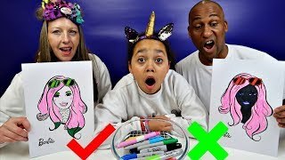 Download 3 MARKER CHALLENGE With Barbie - MUM VS DAD Edition Video