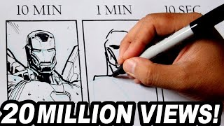 Download DRAWING IRON MAN in 10 MINUTES, 1 MINUTE & 10 SECONDS! Video