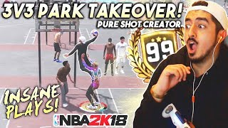 Download 3V3 PARK TAKEOVER WITH MY PURE SHOT CREATOR! 99 OVERALL GAMEPLAY in NBA2K18! Video