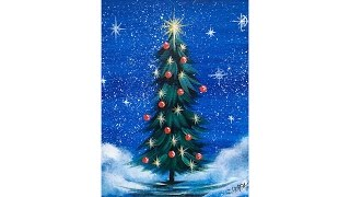 Download Simple Christmas TREE Step by Step Acrylic Painting on Canvas for Beginners Video