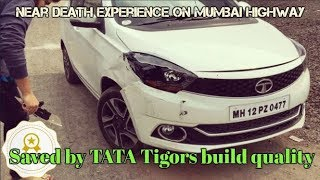 Download Saved by TATAs build Quality | Near DEATH Experience | TATA Tigor Accident on Highway Video