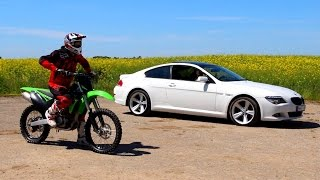 Download Motocross bike vs BMW drag race Lithuania Video