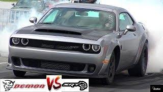 Download 2018 DEMON vs HELLCAT DRAG RACE !! Stock 840 HP Demon vs 707 HP Hellcat - 1/4 Mile - RoadTestTV Video