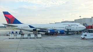Download DELTA AIRLINES Boeing 747-451 / Atlanta to Honolulu / First Class / Great engine view and sound ! Video