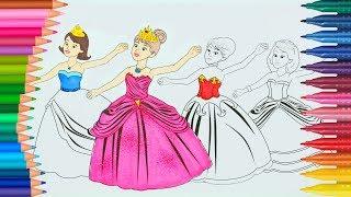 Prenses Boyama çay Partisi Boyama Kitabı Boyama Videoları