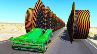 Download Beamng drive - Hitting Hydraulic Bollards Walls crashes Video