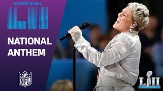 Download P!nk Belts Out the National Anthem! | Super Bowl LII NFL Pregame Video