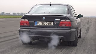 Download 900HP BMW M5 E39 V8 Supercharged 1/2 Mile Drag Race Accelerations Video
