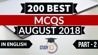Download 200 Best current affairs August 2018 in ENGLISH Set 2 - IBPS PO/SSC CGL/UPSC/KVS/IAS/RBI 2018 Video