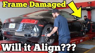 Download Can a Salvage Supercar with Frame Damage be Aligned? Let's find out on my Audi R8! Video