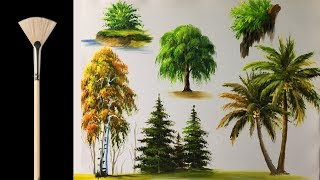 Download How to paint trees with fan brush - Acrylic lesson Video