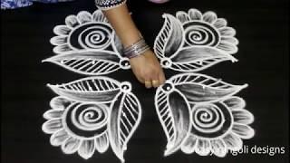 Download Friday flower kolam with 6 dots || easy rangoli designs for varalakshmi vratham || Sravana muggulu Video