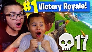 Download TEACHING 9 YEAR OLD BROTHER HOW TO WIN 100% OF SOLOS! 17 KILL GAMEPLAY! FORTNITE BATTLE ROYALE Video