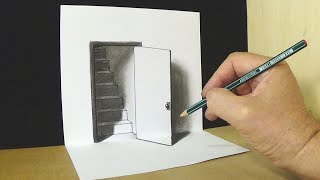Download Trick Art Drawing - The Door Illusion - Magic Perspective with Pencil Video