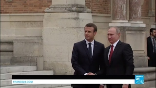 Download France: Emmanuel Macron welcomes Russian President Vladimir Putin in Versailles Video