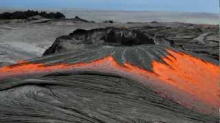 Download Rivers of molten lava high up Pulama Pali - Kilauea Volcano Hawaii Video