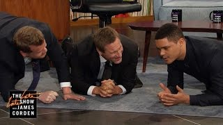 Download Aaron Eckhart, Trevor Noah & James Get Physical Video