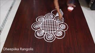 Download simple free hand flower rangoli design - beginners kolam design - easy rangoli without dots Video